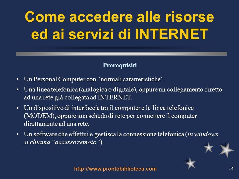 http://www.prontobiblioteca.com 14 Come accedere alle risorse ed ai servizi di INTERNET Un Personal Computer con normali caratteristiche.