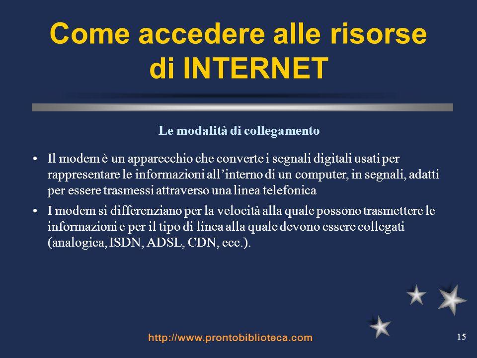 http://www.prontobiblioteca.com 15 Come accedere alle risorse di INTERNET Il modem è un apparecchio che converte i segnali digitali usati per rappresentare le informazioni allinterno di un computer, in segnali, adatti per essere trasmessi attraverso una linea telefonica I modem si differenziano per la velocità alla quale possono trasmettere le informazioni e per il tipo di linea alla quale devono essere collegati (analogica, ISDN, ADSL, CDN, ecc.).