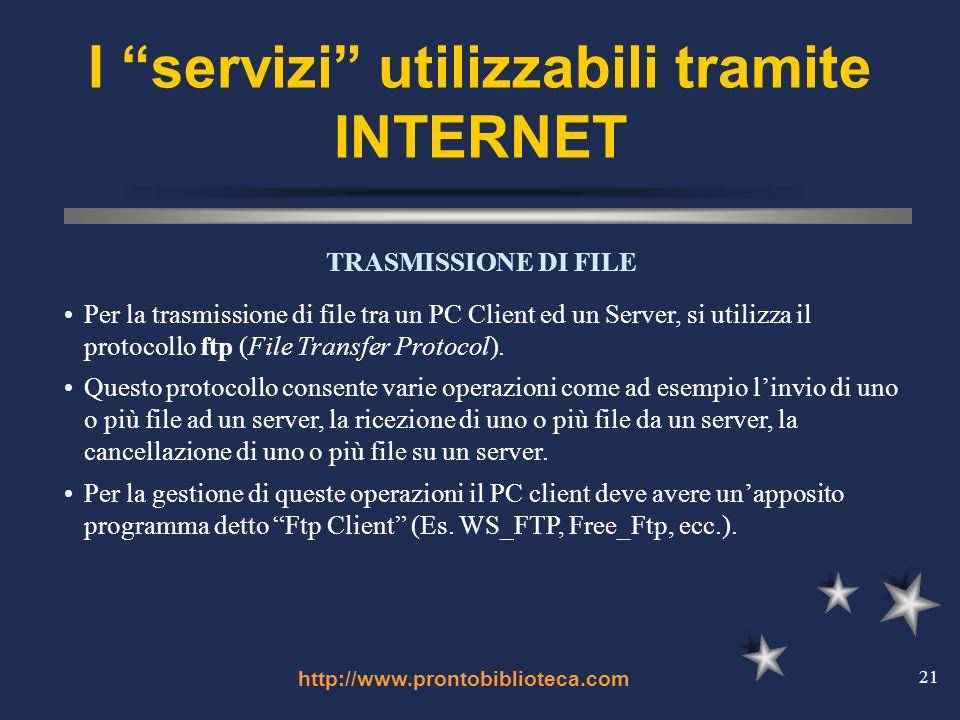 http://www.prontobiblioteca.com 21 I servizi utilizzabili tramite INTERNET TRASMISSIONE DI FILE Per la trasmissione di file tra un PC Client ed un Server, si utilizza il protocollo ftp (File Transfer Protocol).