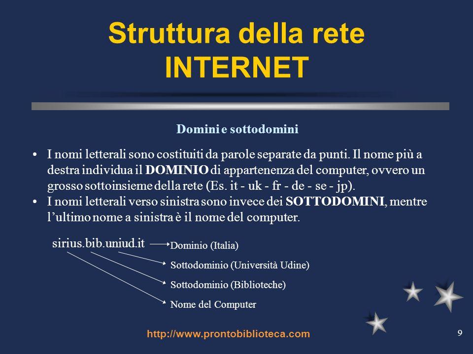 http://www.prontobiblioteca.com 9 Struttura della rete INTERNET I nomi letterali sono costituiti da parole separate da punti.