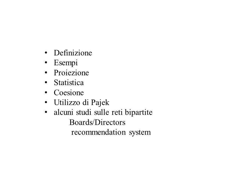 Definizione Esempi Proiezione Statistica Coesione Utilizzo di Pajek alcuni studi sulle reti bipartite Boards/Directors recommendation system