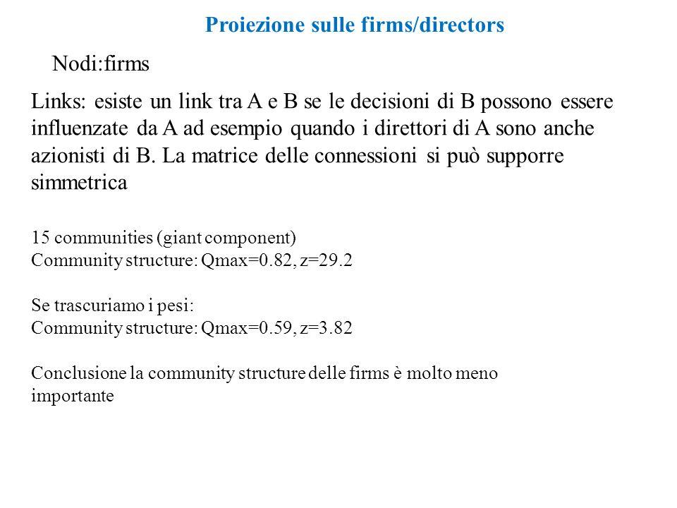 Proiezione sulle firms/directors Nodi:firms Links: esiste un link tra A e B se le decisioni di B possono essere influenzate da A ad esempio quando i direttori di A sono anche azionisti di B.