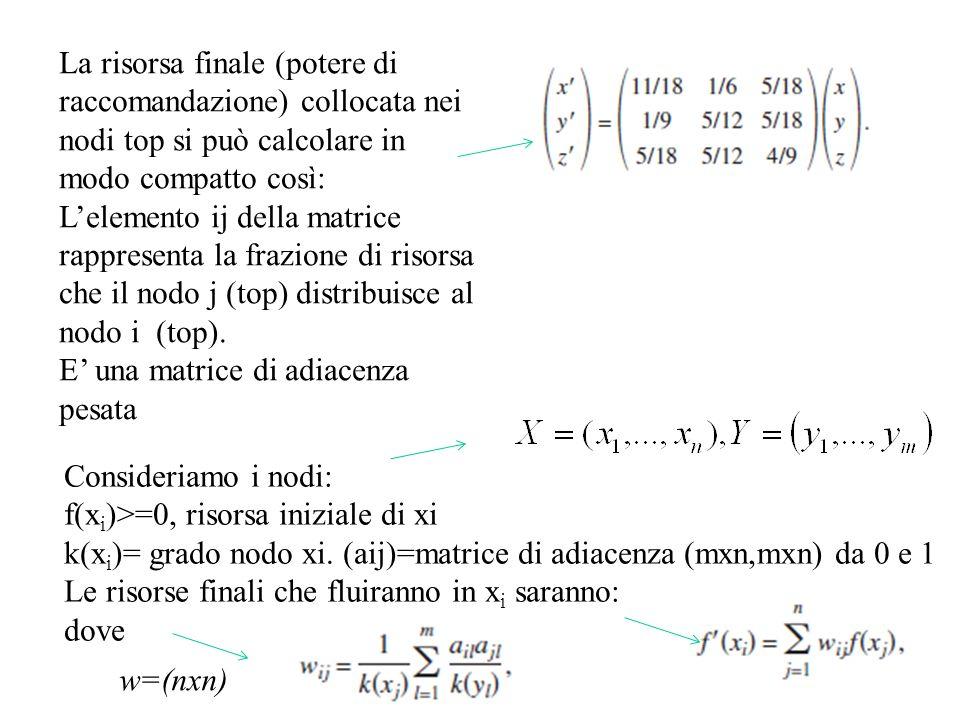 La risorsa finale (potere di raccomandazione) collocata nei nodi top si può calcolare in modo compatto così: Lelemento ij della matrice rappresenta la frazione di risorsa che il nodo j (top) distribuisce al nodo i (top).