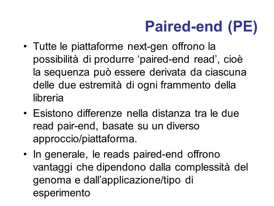 Paired-end (PE) Tutte le piattaforme next-gen offrono la possibilità di produrre paired-end read, cioè la sequenza può essere derivata da ciascuna delle due estremità di ogni frammento della libreria Esistono differenze nella distanza tra le due read pair-end, basate su un diverso approccio/piattaforma.