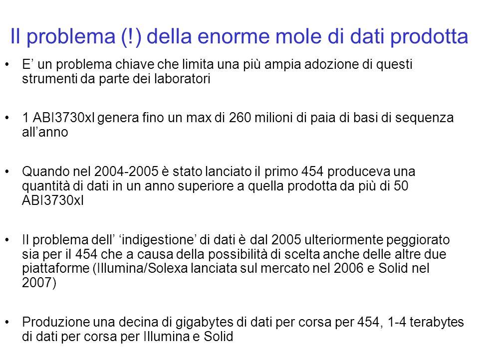 Il problema (!) della enorme mole di dati prodotta E un problema chiave che limita una più ampia adozione di questi strumenti da parte dei laboratori
