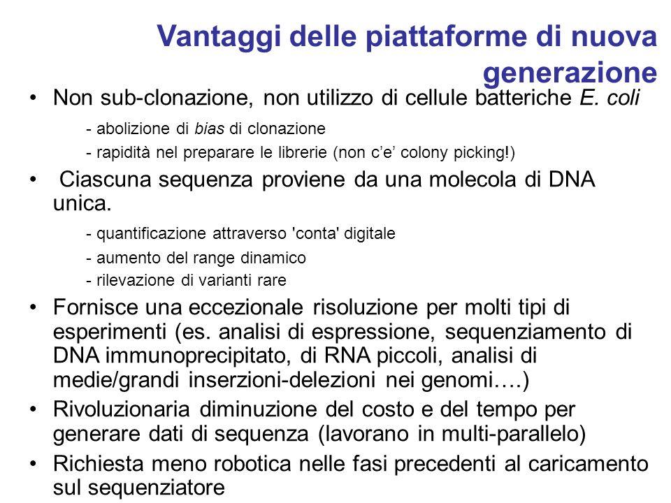 Vantaggi delle piattaforme di nuova generazione Non sub-clonazione, non utilizzo di cellule batteriche E. coli - abolizione di bias di clonazione - ra