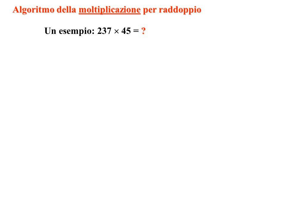 1 2 4 8 16 32 64 128 …… 1-1=0 5-4=1 13-8=5 45-32=13101101 0 …… e associamo 0 alle righe non utilizzate.