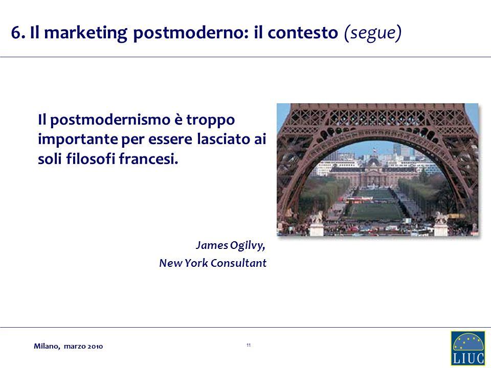 Milano, marzo 2010 11 Milano, marzo 2010 Il postmodernismo è troppo importante per essere lasciato ai soli filosofi francesi.