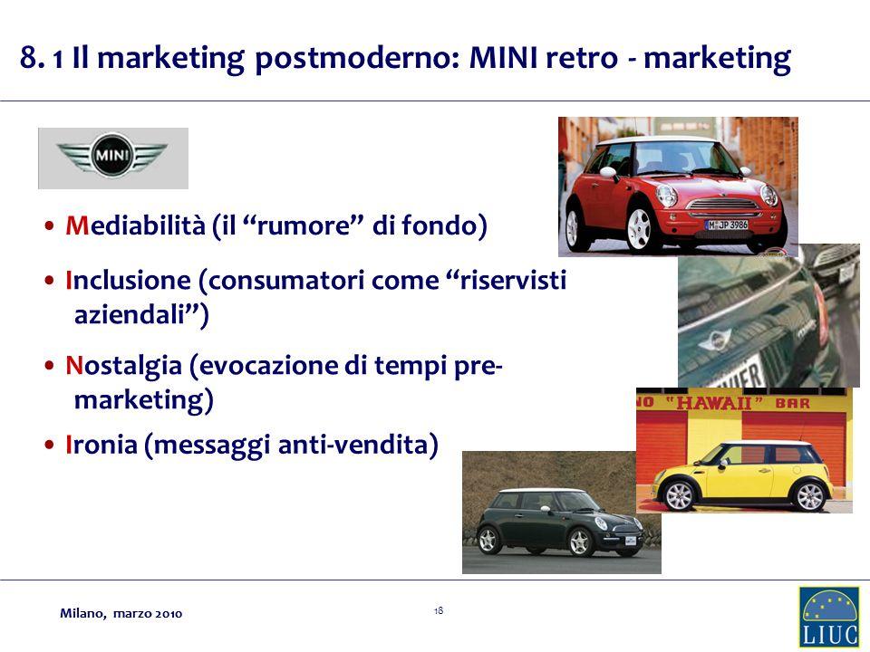 Milano, marzo 2010 18 Milano, marzo 2010 Mediabilità (il rumore di fondo) Inclusione (consumatori come riservisti aziendali) Nostalgia (evocazione di tempi pre- marketing) Ironia (messaggi anti-vendita) 8.