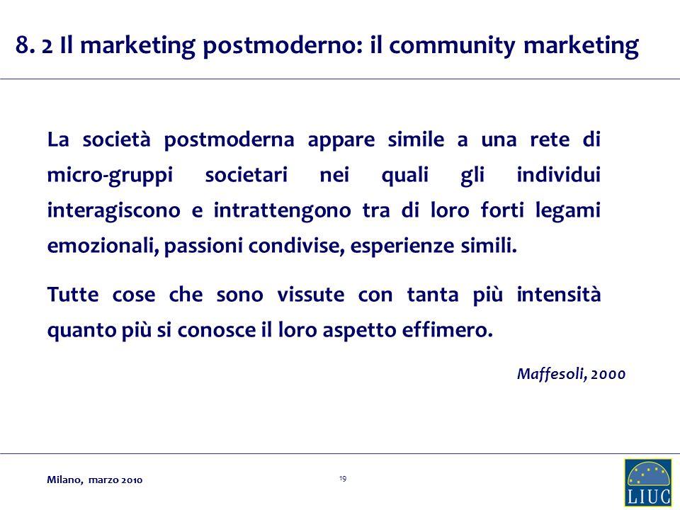 Milano, marzo 2010 19 Milano, marzo 2010 La società postmoderna appare simile a una rete di micro-gruppi societari nei quali gli individui interagiscono e intrattengono tra di loro forti legami emozionali, passioni condivise, esperienze simili.