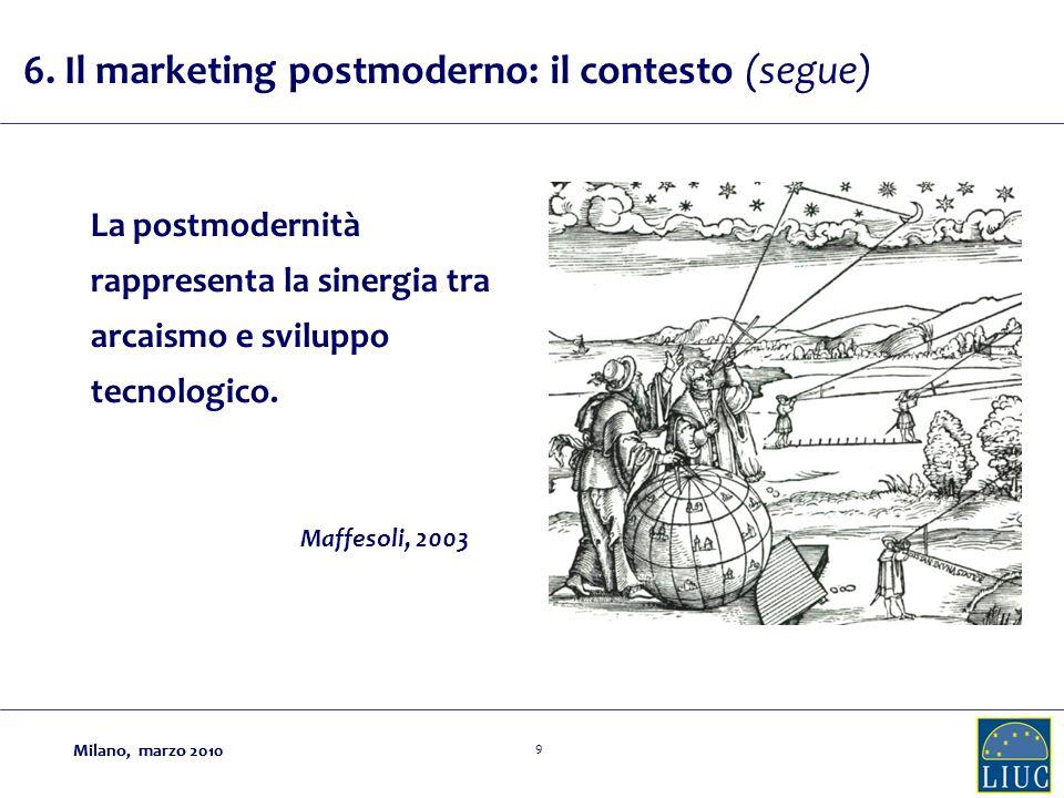 Milano, marzo 2010 9 La postmodernità rappresenta la sinergia tra arcaismo e sviluppo tecnologico.