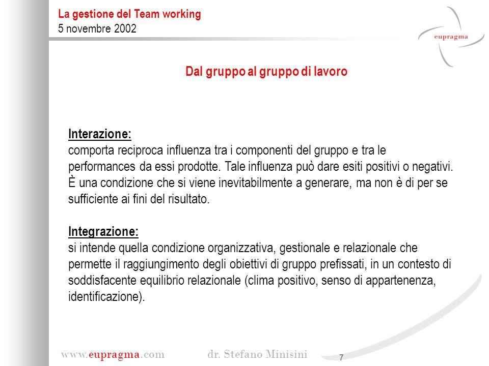 7 www.eupragma.com dr. Stefano Minisini La gestione del Team working 5 novembre 2002 Dal gruppo al gruppo di lavoro Interazione: comporta reciproca in