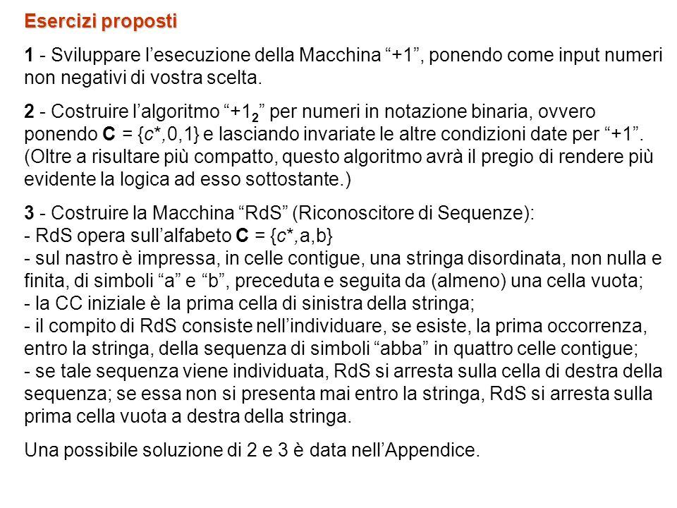 Esercizi proposti 1 - Sviluppare lesecuzione della Macchina +1, ponendo come input numeri non negativi di vostra scelta.