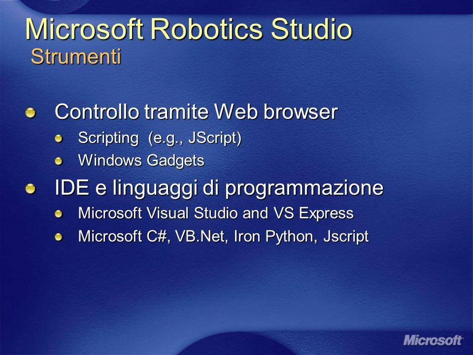 Microsoft Robotics Studio Strumenti Controllo tramite Web browser Scripting (e.g., JScript) Windows Gadgets IDE e linguaggi di programmazione Microsoft Visual Studio and VS Express Microsoft C#, VB.Net, Iron Python, Jscript