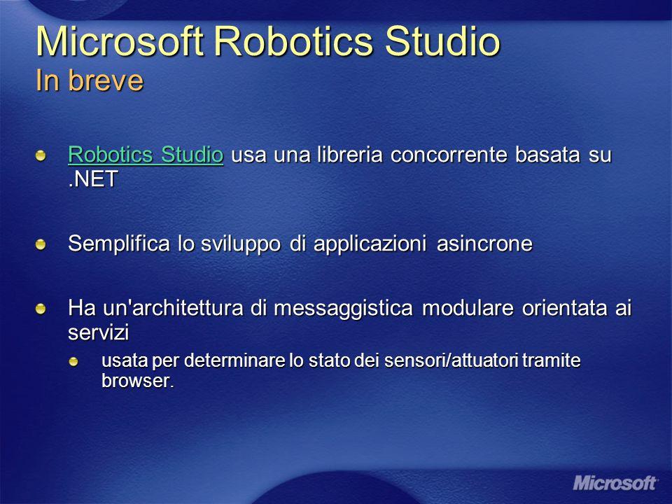 Microsoft Robotics Studio In breve Robotics StudioRobotics Studio usa una libreria concorrente basata su.NET Robotics Studio Semplifica lo sviluppo di applicazioni asincrone Ha un architettura di messaggistica modulare orientata ai servizi usata per determinare lo stato dei sensori/attuatori tramite browser.