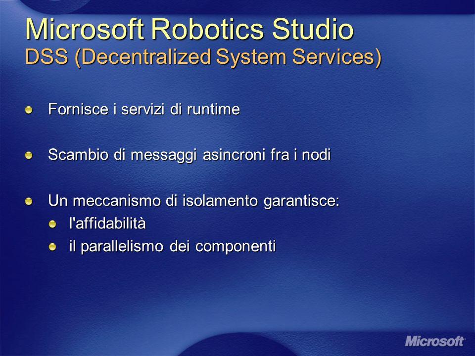 Microsoft Robotics Studio DSS (Decentralized System Services) Fornisce i servizi di runtime Scambio di messaggi asincroni fra i nodi Un meccanismo di isolamento garantisce: l affidabilità il parallelismo dei componenti