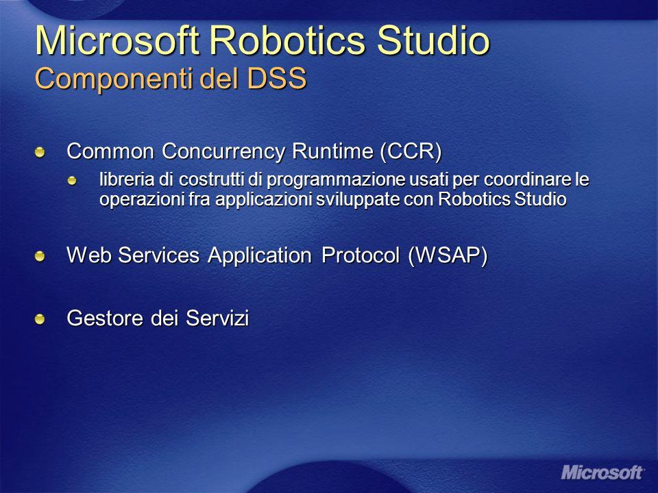 Microsoft Robotics Studio Componenti del DSS Common Concurrency Runtime (CCR) libreria di costrutti di programmazione usati per coordinare le operazioni fra applicazioni sviluppate con Robotics Studio Web Services Application Protocol (WSAP) Gestore dei Servizi