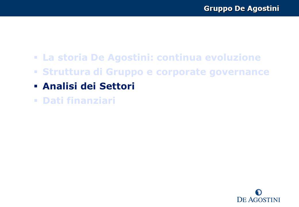 La storia De Agostini: continua evoluzione Struttura di Gruppo e corporate governance Analisi dei Settori Dati finanziari Gruppo De Agostini