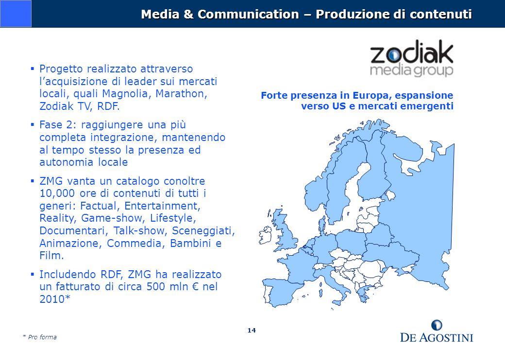14 Media & Communication – Produzione di contenuti Progetto realizzato attraverso lacquisizione di leader sui mercati locali, quali Magnolia, Marathon, Zodiak TV, RDF.