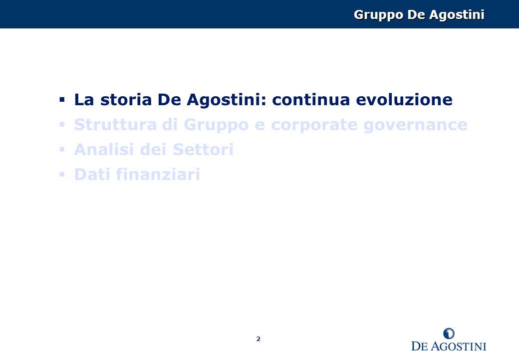 2 La storia De Agostini: continua evoluzione Struttura di Gruppo e corporate governance Analisi dei Settori Dati finanziari Gruppo De Agostini
