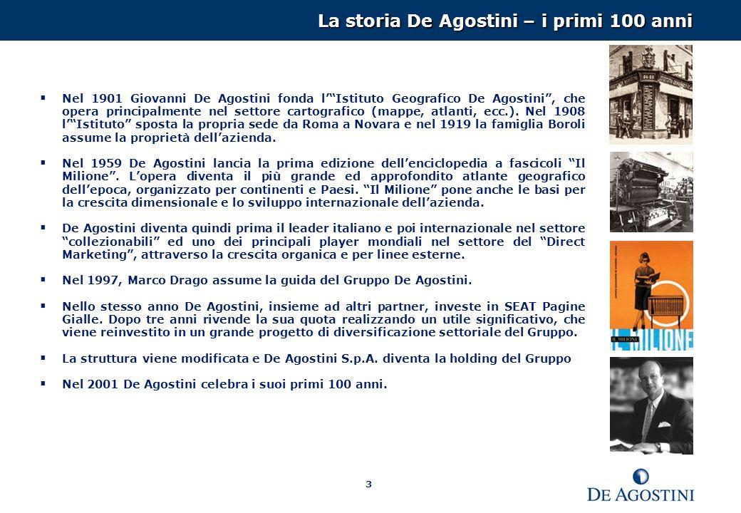 3 La storia De Agostini – i primi 100 anni Nel 1901 Giovanni De Agostini fonda lIstituto Geografico De Agostini, che opera principalmente nel settore cartografico (mappe, atlanti, ecc.).