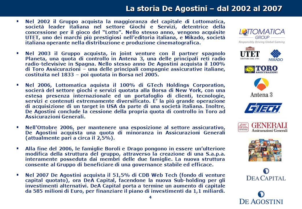 4 La storia De Agostini – dal 2002 al 2007 Nel 2002 il Gruppo acquista la maggioranza del capitale di Lottomatica, società leader italiana nel settore Giochi e Servizi, detentrice della concessione per il gioco del Lotto.