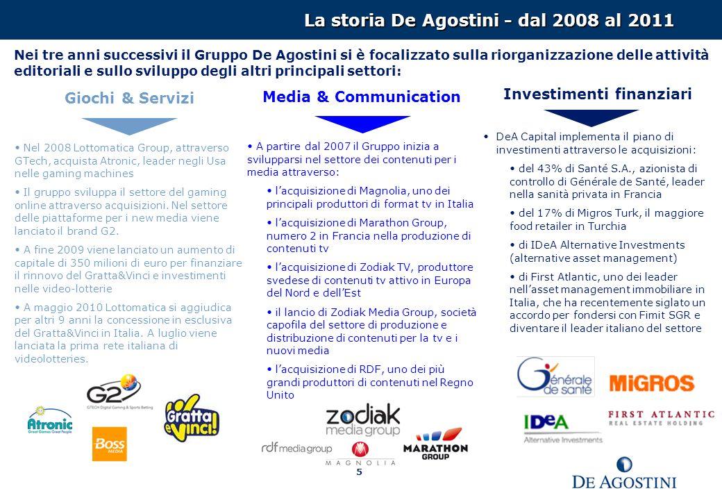 5 La storia De Agostini - dal 2008 al 2011 Giochi & Servizi Nel 2008 Lottomatica Group, attraverso GTech, acquista Atronic, leader negli Usa nelle gaming machines Il gruppo sviluppa il settore del gaming online attraverso acquisizioni.