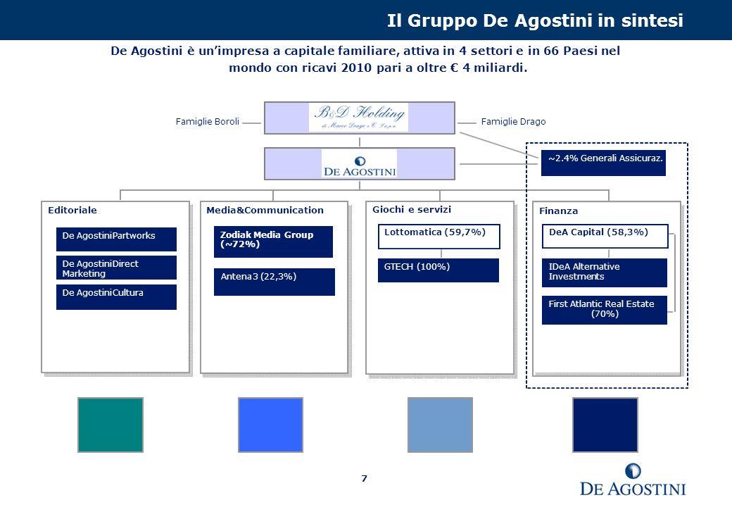 7 Il Gruppo De Agostini in sintesi De Agostini è unimpresa a capitale familiare, attiva in 4 settori e in 66 Paesi nel mondo con ricavi 2010 pari a oltre 4 miliardi.