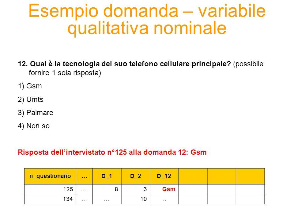 Esempio domanda – variabile qualitativa nominale 12. Qual è la tecnologia del suo telefono cellulare principale? (possibile fornire 1 sola risposta) 1