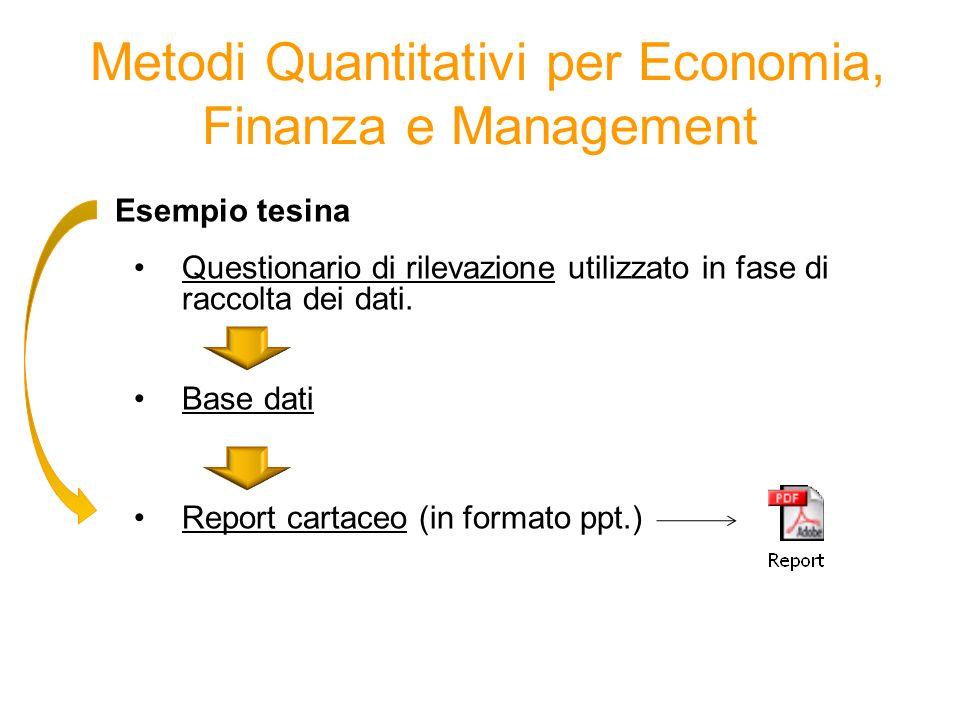 Esempio tesina Questionario di rilevazione utilizzato in fase di raccolta dei dati. Base dati Report cartaceo (in formato ppt.) Metodi Quantitativi pe
