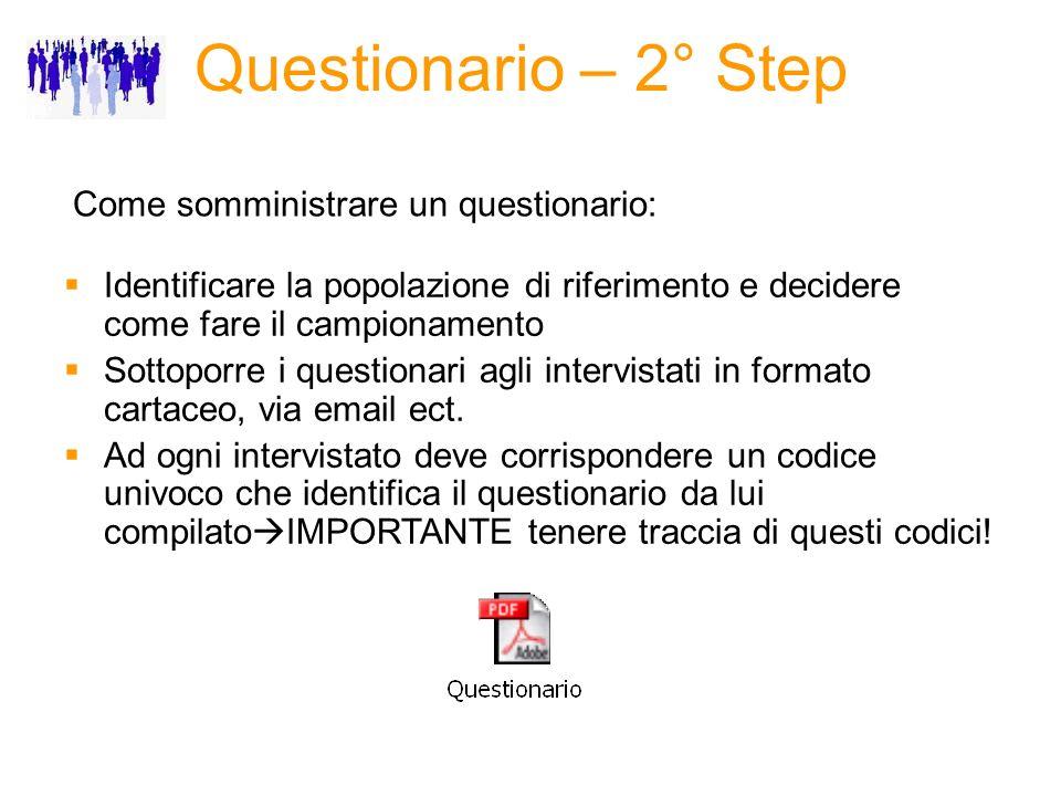 Questionario – 2° Step Come somministrare un questionario: Identificare la popolazione di riferimento e decidere come fare il campionamento Sottoporre i questionari agli intervistati in formato cartaceo, via email ect.