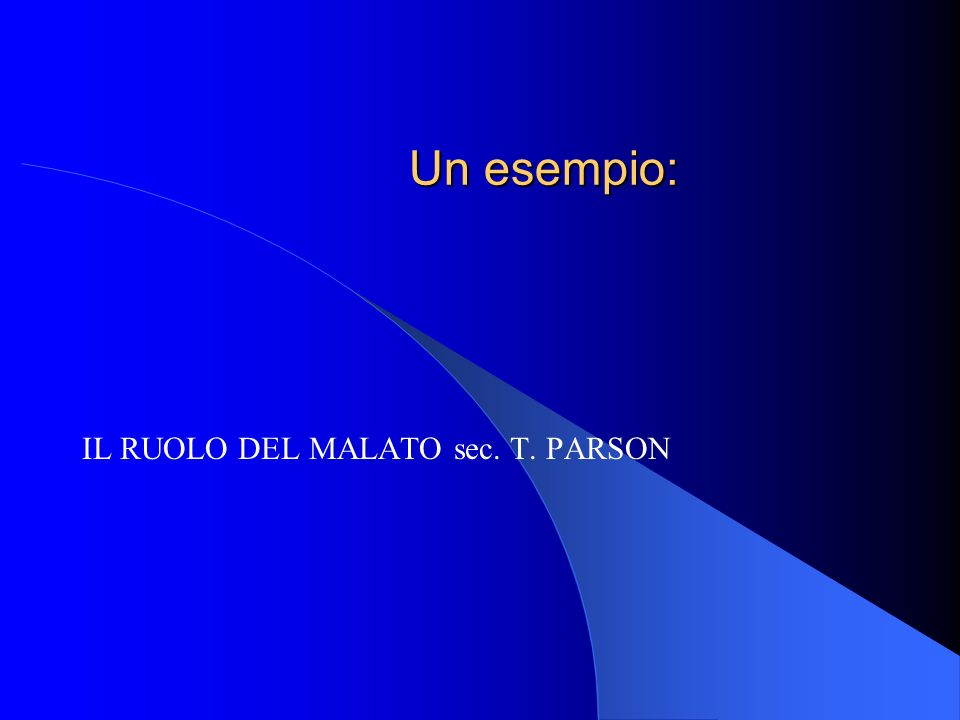 Un esempio: IL RUOLO DEL MALATO sec. T. PARSON
