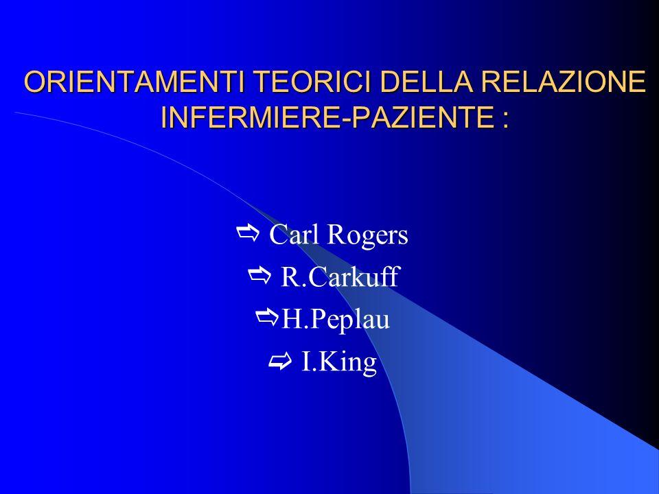 ORIENTAMENTI TEORICI DELLA RELAZIONE INFERMIERE-PAZIENTE : Carl Rogers R.Carkuff H.Peplau I.King