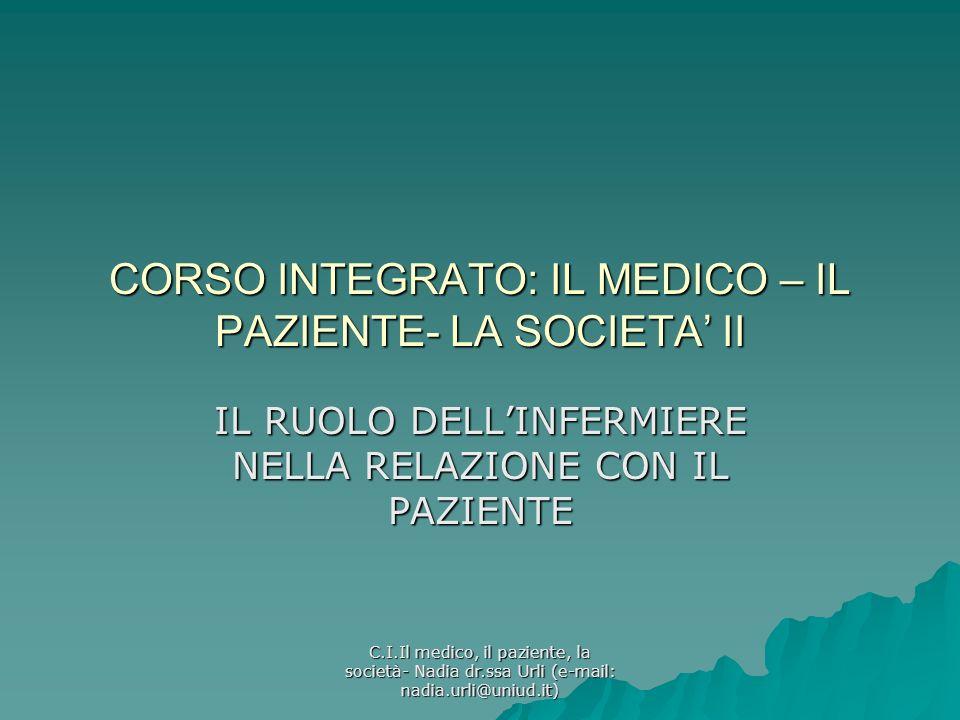 C.I.Il medico, il paziente, la società- Nadia dr.ssa Urli (e-mail: nadia.urli@uniud.it) CORSO INTEGRATO: IL MEDICO – IL PAZIENTE- LA SOCIETA II IL RUO