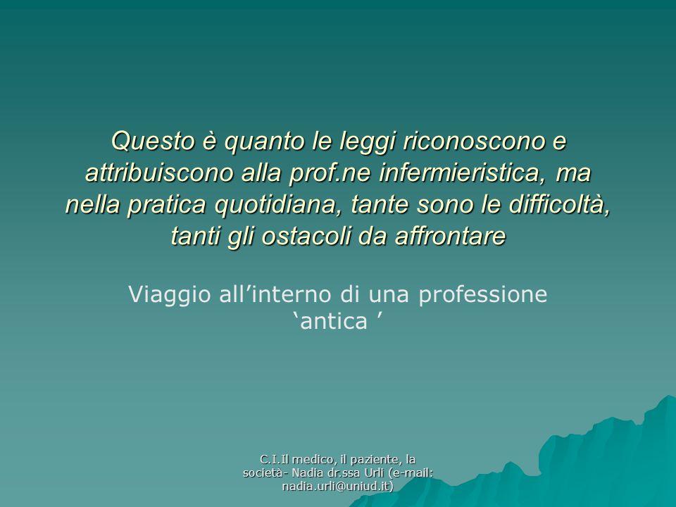 C.I.Il medico, il paziente, la società- Nadia dr.ssa Urli (e-mail: nadia.urli@uniud.it) Questo è quanto le leggi riconoscono e attribuiscono alla prof