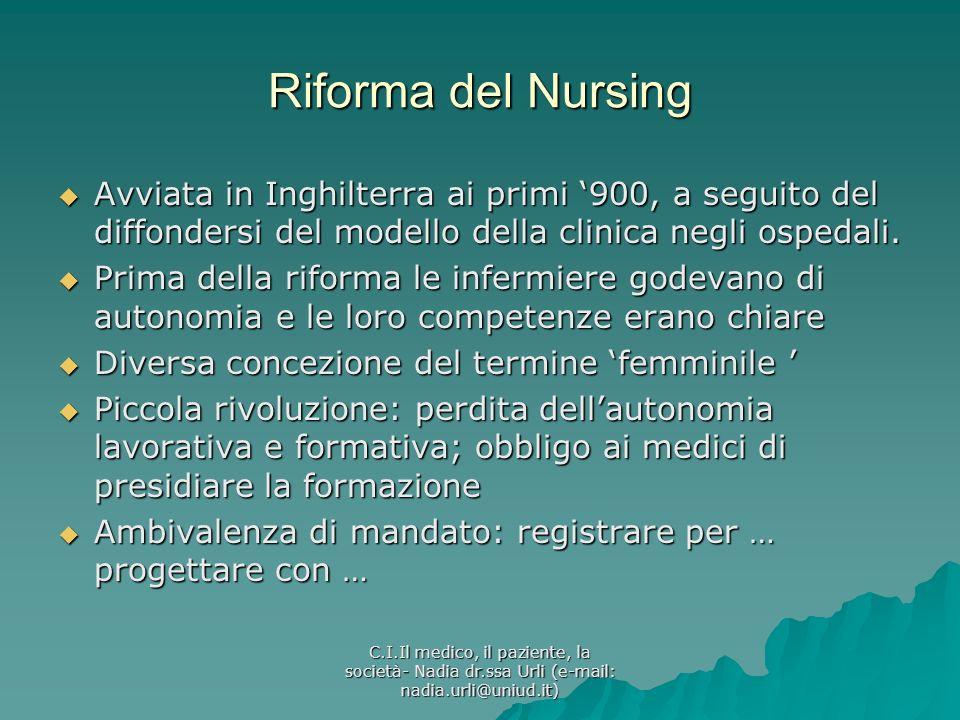 C.I.Il medico, il paziente, la società- Nadia dr.ssa Urli (e-mail: nadia.urli@uniud.it) Riforma del Nursing Avviata in Inghilterra ai primi 900, a seg