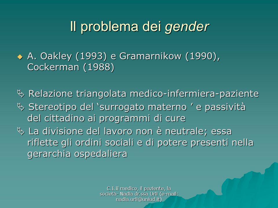 C.I.Il medico, il paziente, la società- Nadia dr.ssa Urli (e-mail: nadia.urli@uniud.it) Il problema dei gender A. Oakley (1993) e Gramarnikow (1990),