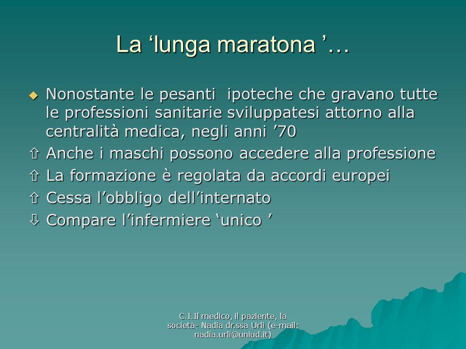 C.I.Il medico, il paziente, la società- Nadia dr.ssa Urli (e-mail: nadia.urli@uniud.it) La lunga maratona … Nonostante le pesanti ipoteche che gravano