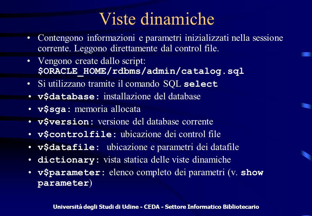 Università degli Studi di Udine - CEDA - Settore Informatico Bibliotecario Viste dinamiche Contengono informazioni e parametri inizializzati nella sessione corrente.
