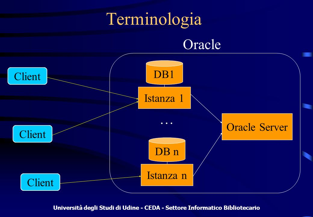 Università degli Studi di Udine - CEDA - Settore Informatico Bibliotecario Istanza Insieme di processi e strutture di memoria Legata ad un solo database alla volta Contiene tutti i meccanismi per il parsing delle query e dei comandi DML Specifica i file e le tabelle di sistema relative a quello specifico database (utenti, datafile, log, ecc.)