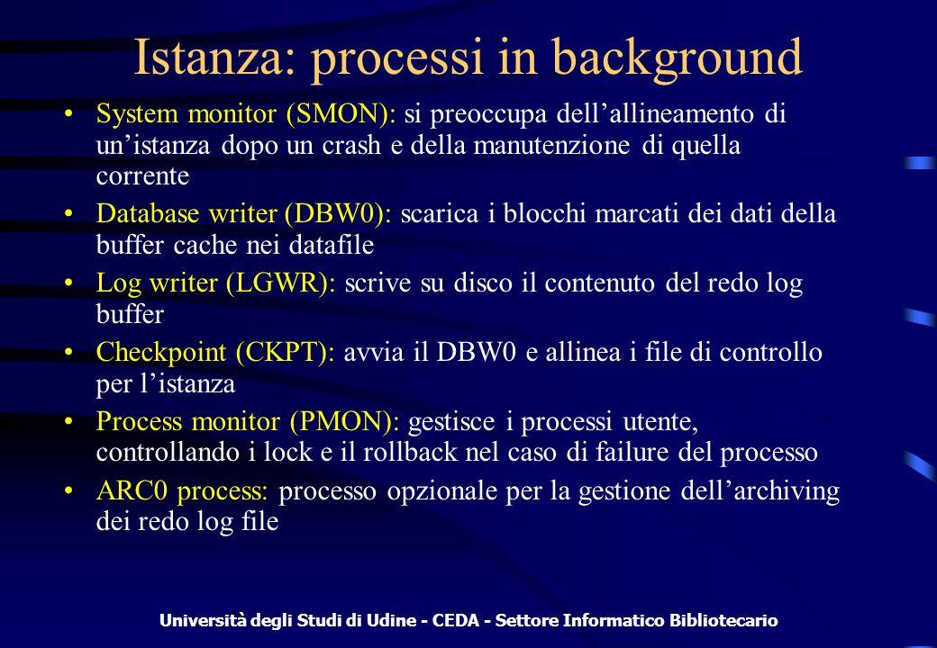 Università degli Studi di Udine - CEDA - Settore Informatico Bibliotecario Parametri e viste statiche Comando: show parameter –db_name, processes, log_buffer, ecc.