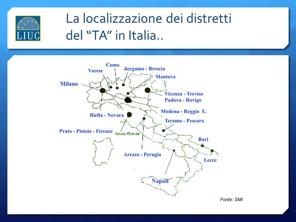 La localizzazione dei distretti del TA in Italia..