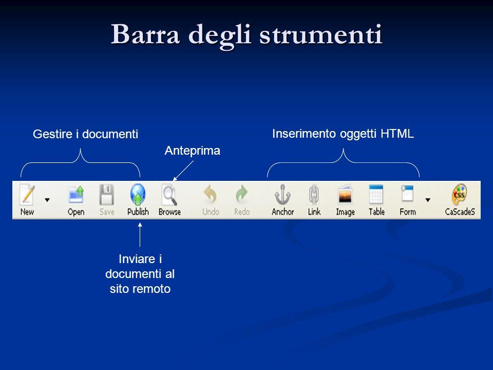 Barra degli strumenti Gestire i documenti Inviare i documenti al sito remoto Inserimento oggetti HTML Anteprima