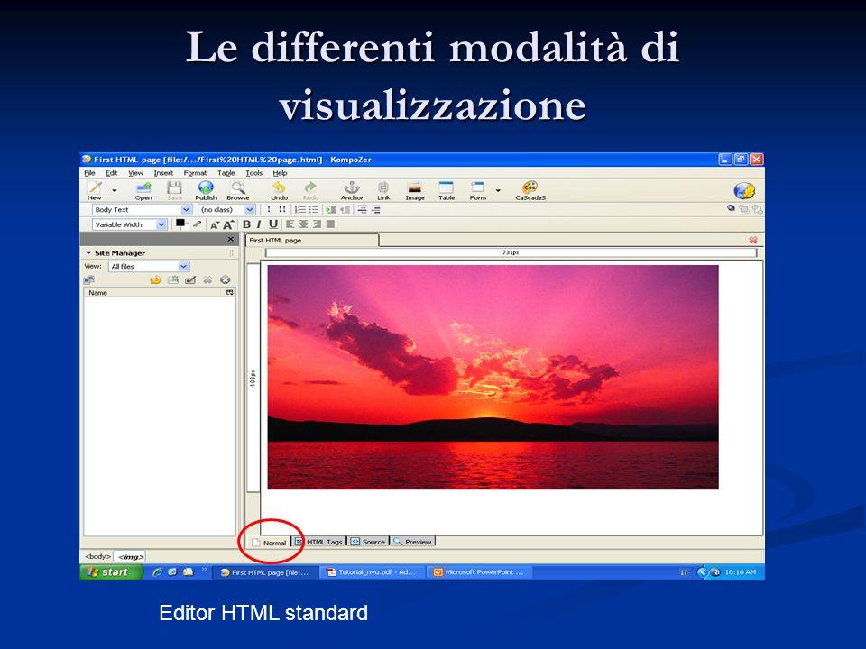 Le differenti modalità di visualizzazione Editor HTML standard