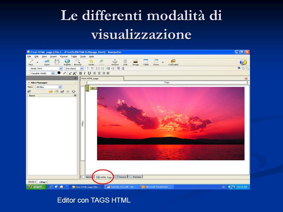 Le differenti modalità di visualizzazione Editor con TAGS HTML