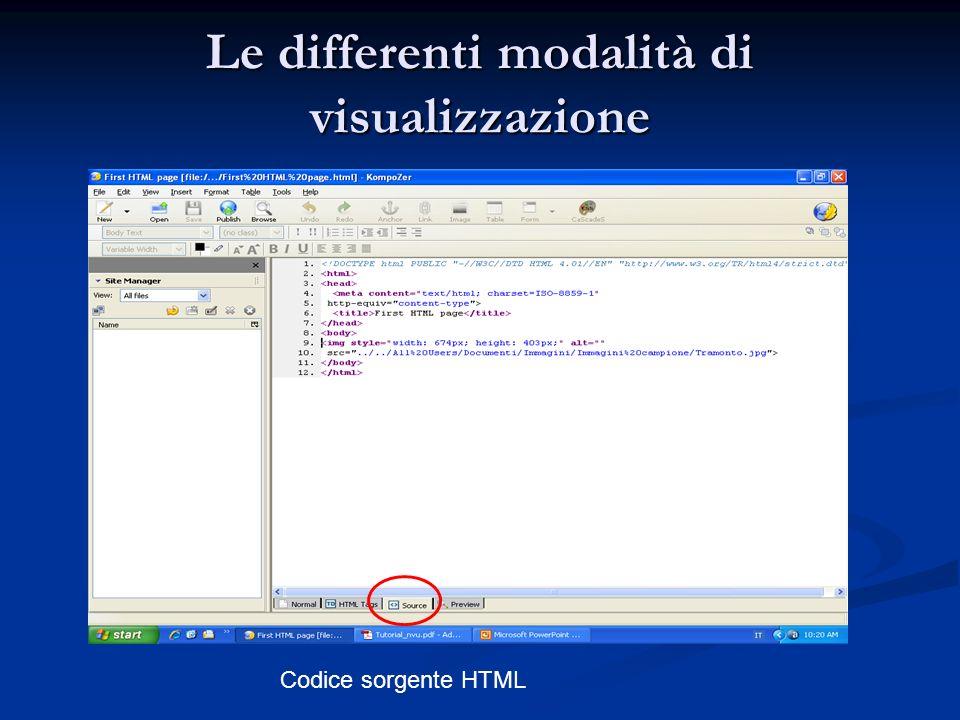 Le differenti modalità di visualizzazione Codice sorgente HTML