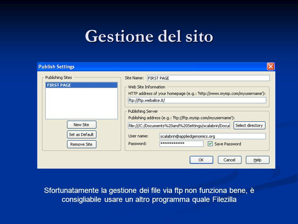 Gestione del sito Sfortunatamente la gestione dei file via ftp non funziona bene, è consigliabile usare un altro programma quale Filezilla