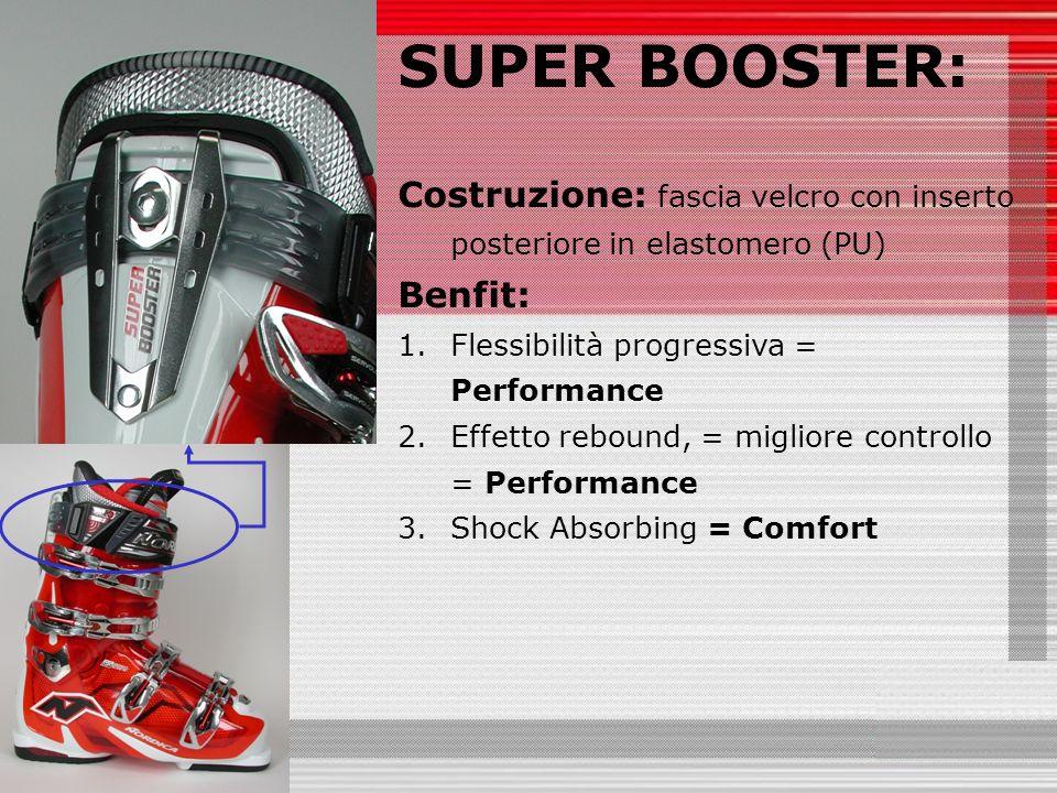 SUPER BOOSTER: Costruzione: fascia velcro con inserto posteriore in elastomero (PU) Benfit: 1.Flessibilità progressiva = Performance 2.Effetto rebound, = migliore controllo = Performance 3.Shock Absorbing = Comfort