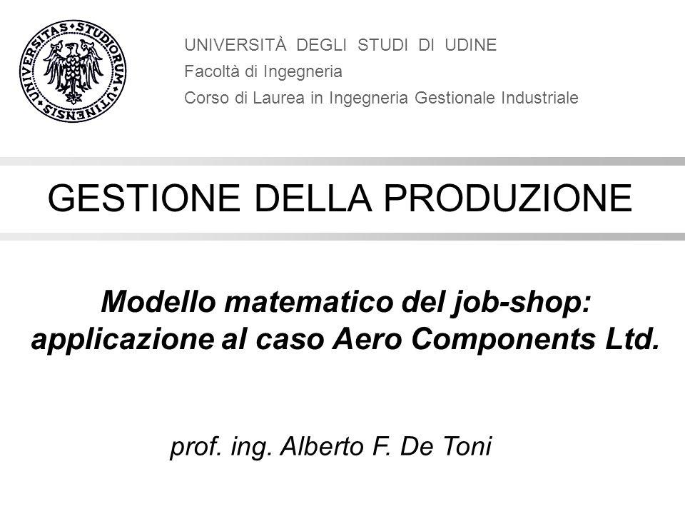 Modello matematico del job-shop: applicazione al caso Aero Components Ltd. UNIVERSITÀ DEGLI STUDI DI UDINE Facoltà di Ingegneria Corso di Laurea in In