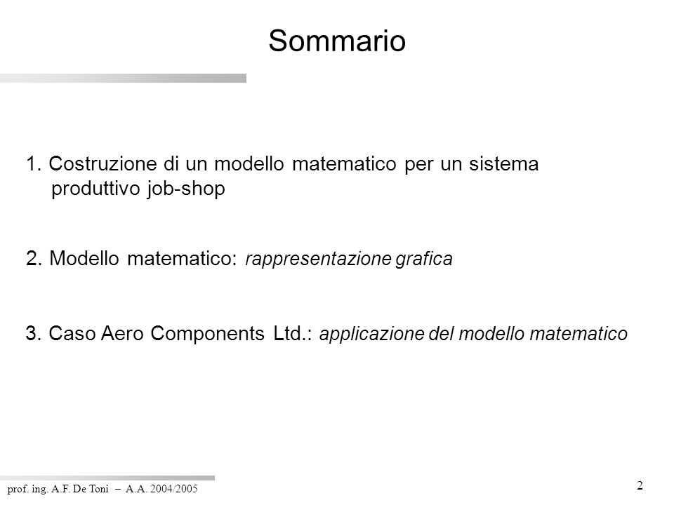 prof. ing. A.F. De Toni – A.A. 2004/2005 23 Riassunto dei parametri (6/7)